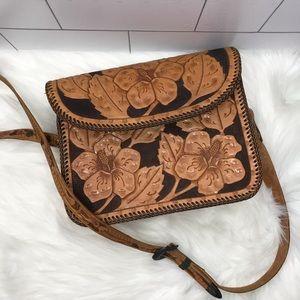 Tooled burned leather floral bag